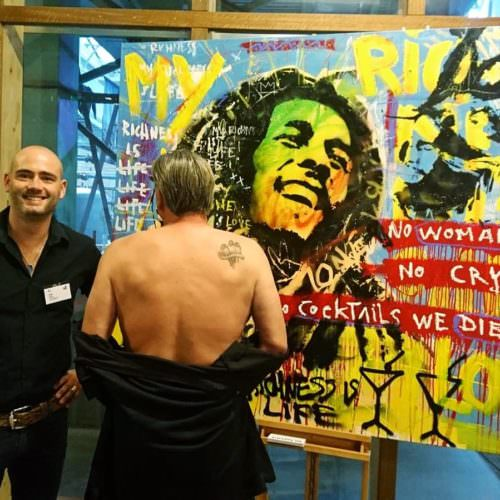 johnny boer bij bob marley three little birds neo pop art topkok liberije