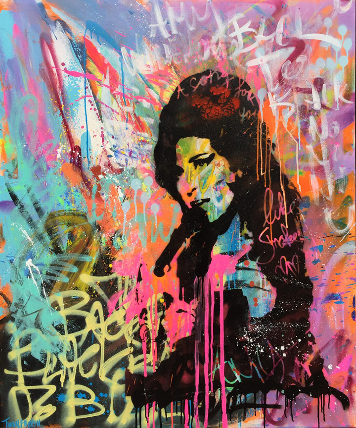 mixed media pop art neo pop music muziek moderne kunst schilderij artist nick twaalfhoven amy winehouse