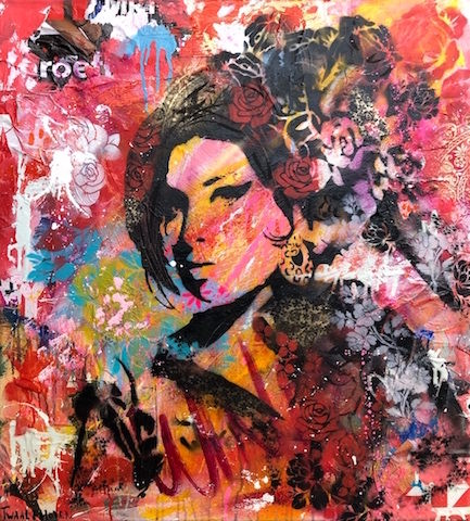 Amy Winehouse mixed media pop art neo pop music muziek moderne kunst schilderij artist nick twaalfhoven