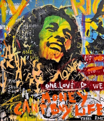 Bob Marley mixed media pop art neo pop music muziek moderne kunst schilderij artist nick twaalfhoven