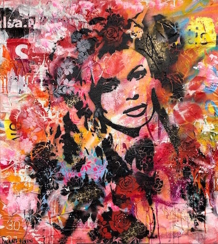 Brigitte Bardot mixed media pop art neo pop music muziek moderne kunst schilderij artist nick twaalfhoven