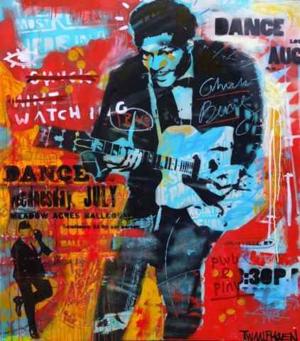 chuck berry Kunstenaar artist nick twaalfhoven popart neopop moderne kunst rock art music art muziek kunst