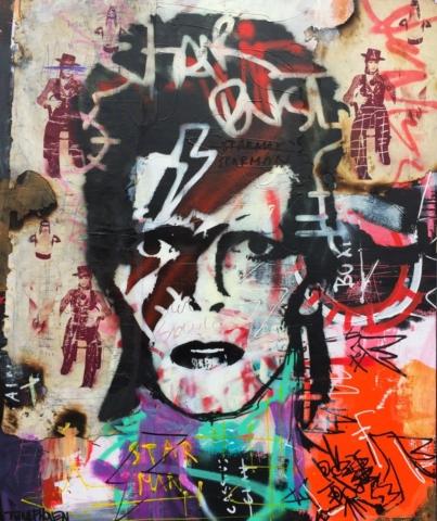david bowie ziggy stardust Kunstenaar artist nick twaalfhoven popart neopop moderne kunst rock art music art muziek kunst