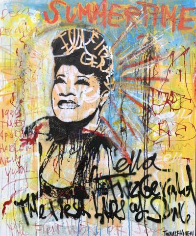 ella fritzgerald Kunstenaar artist nick twaalfhoven popart neopop moderne kunst rock art music art muziek kunst