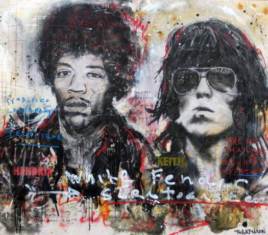 jimi hendrix keith richards Kunstenaar artist nick twaalfhoven popart neopop moderne kunst rock art music art muziek kunst