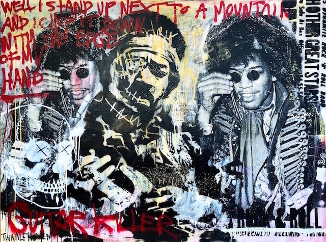 Jimi Hendrix 140×190 mixed media pop art neo pop music muziek moderne kunst schilderij artist nick twaalfhoven