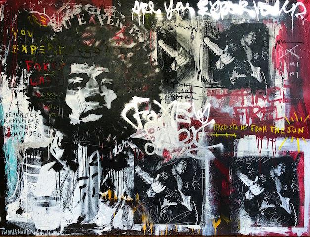 Jimi Hendrix 140×190 mixed media pop art neo pop music muziek moderne kunst schilderij artist nick twaalfhoven.JPG