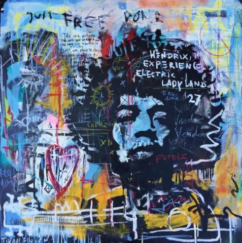 jimi hendrixKunstenaar artist nick twaalfhoven popart neopop moderne kunst rock art music art muziek kunst