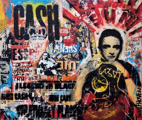 Johnny CAsh mixed media pop art neo pop music muziek moderne kunst schilderij artist nick twaalfhoven