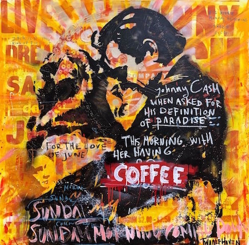 Johnny Cash June Carter mixed media pop art neo pop music muziek moderne kunst schilderij artist nick twaalfhoven