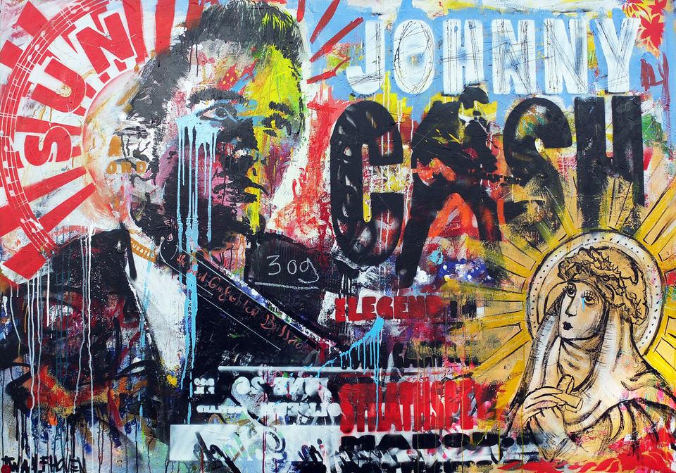 johnny cash Kunstenaar artist nick twaalfhoven popart neopop moderne kunst rock art music art muziek kunst