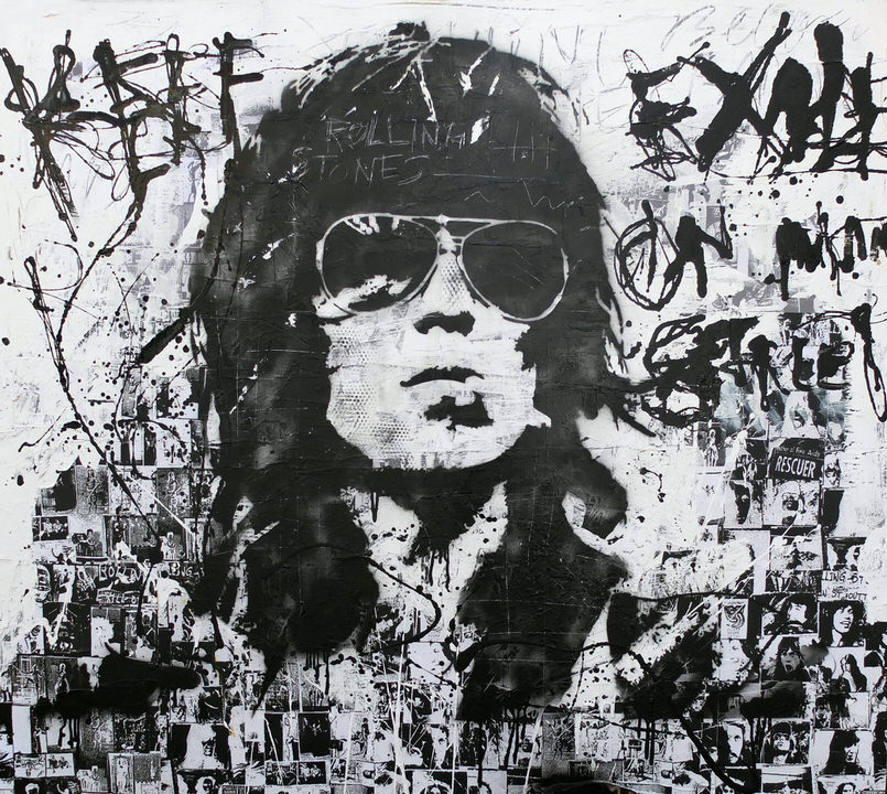 Keith Richards Rolling Stones 140x130 Twaalfhoven kunstenaar artist neopopart popart art music kunst moderne kunst vintage retro guitar rock