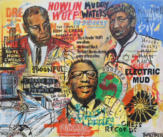 MUDDY WATERS HOWLIN WOLF BO DIDDLEY BLUES PAINTING ART KUNST 170X190 NICK TWAALFHOVEN
