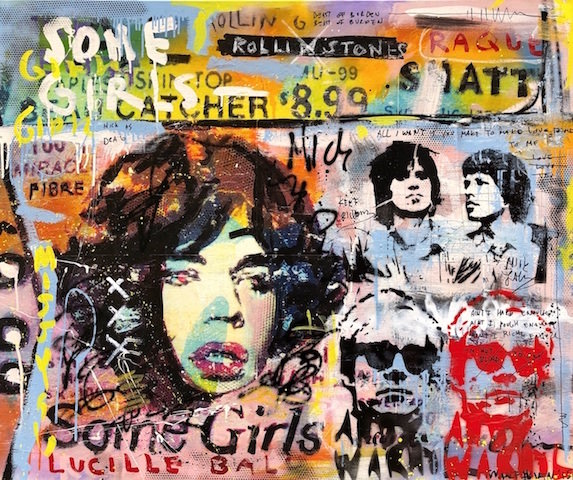 Mick Jagger Some Girls mixed media pop art neo pop music muziek moderne kunst schilderij artist nick twaalfhoven