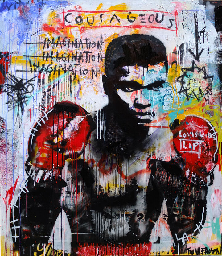Muhammed Ali  mixed media pop art neo pop music muziek moderne kunst schilderij artist nick twaalfhoven