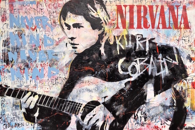 Nirvana mixed media pop art neo pop music muziek moderne kunst schilderij artist nick twaalfhoven