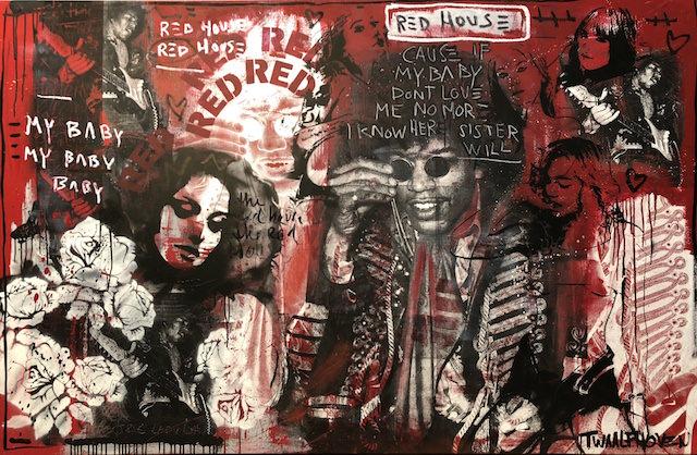 Red HouseJimi Hendrix guitar 140×190 mixed media pop art neo pop music muziek moderne kunst schilderij artist nick twaalfhoven.JPG