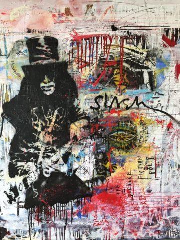 Slash Guns and Roses  mixed media pop art neo pop music muziek moderne kunst schilderij artist nick twaalfhoven