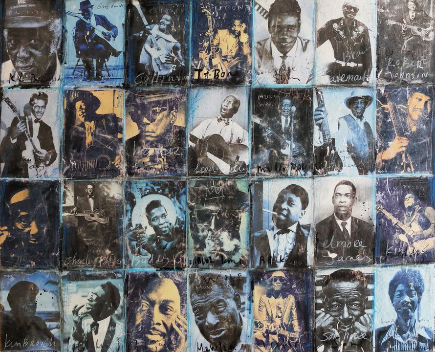 The ultimate blues painting 115x145 nick twaalfhoven kunst art popart vintage kopie
