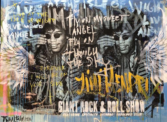 blue angel Jimi Hendrix 140×190 mixed media pop art neo pop music muziek moderne kunst schilderij artist nick twaalfhoven.JPG