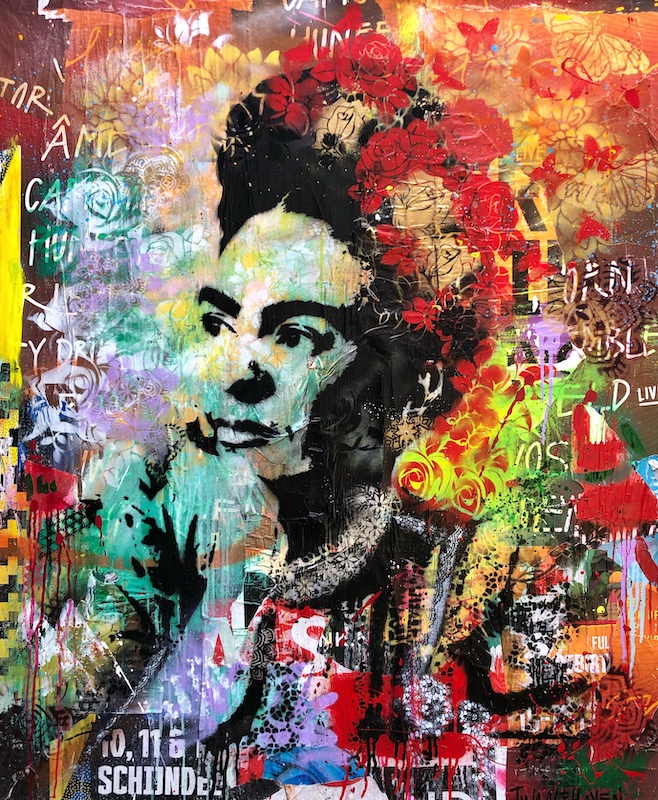 Frida Khalo 2 mixed media pop art neo pop music muziek moderne kunst schilderij artist nick twaalfhoven