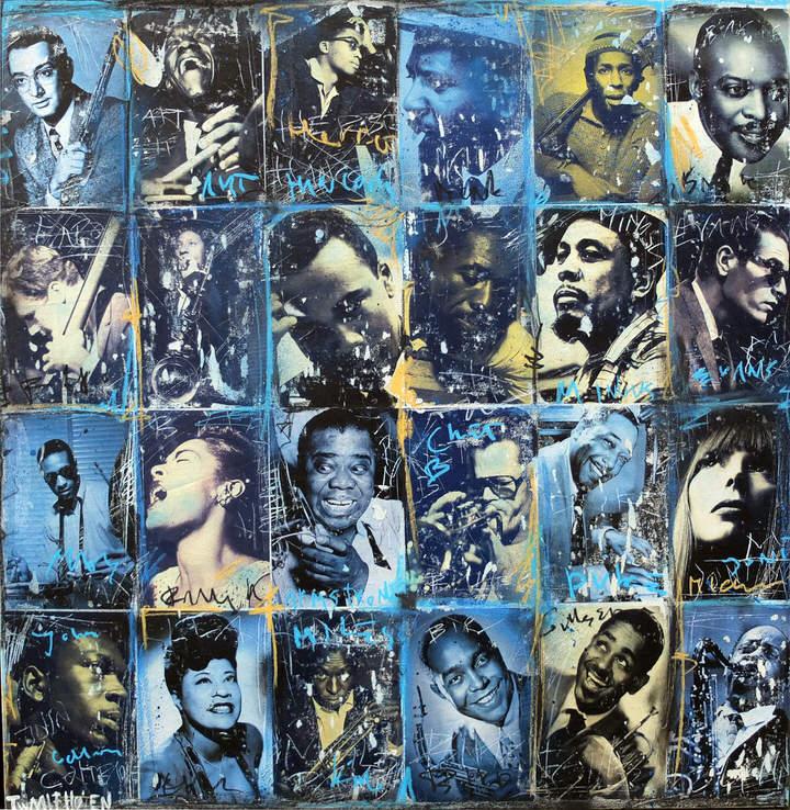 Kunstenaar  jazz artist nick twaalfhoven popart neopop moderne kunst rock art music art muziek kunst