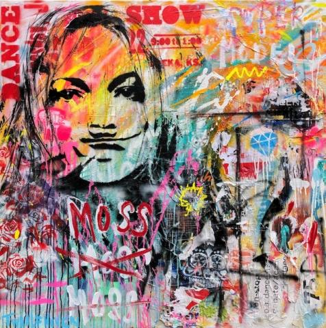 Kunstenaar kate moss artist nick twaalfhoven popart neopop moderne kunst rock art music art muziek kunst